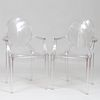 Pair of Philippe Stark for Kartell Lucite 'Louis Ghost' Armchairs