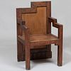 Small Cubist Style Carved Wood Armchair