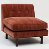 Stained Wood and Upholstered Slipper Chair, in the Style of Edward Wormley