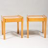 Pair of French Pear Wood Leather Top Tables, in the Style of Jean Michel Frank