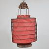 Pair of Metal Wire and Red Paper Lanterns