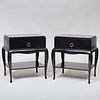 Pair of Bunny Williams Home Black Lacquer Bedside Tables