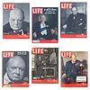Lote de 6 revistas LIFE. Años 1940, 1945, 1948, 1953 y 1956. Con portadas de Sir Winston Churchill.