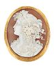 A 9CT GOLD MOUNTED SHELL CAMEO, the oval shell cameo of Dionysus, with coll