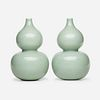 Chinese, celadon double gourd vases, pair