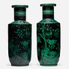 Chinese, Famille Noire 'Flora and Fauna' rouleau vases, pair