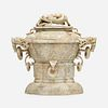 Chinese, Large archaistic jade 'Chicken Bone' censer and cover