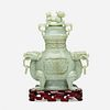 Chinese, Large jadeite censer and cover