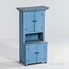 Blue-painted Child's Step-back Cupboard
