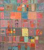 Beatrice Mandelman, Untitled (Pink and Gray Grid Abstraction)