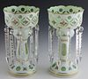 Pair of Large White-to-Green Cut Glass Lusters, 19th c., prism hung, with enameled floral decoration, H.- 13 1/2 in., Dia.- 7 3/8 in. Provenance: from