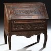 French Louis XV Style Carved Walnut Secretary, 19th c., the floral carved rectangular top over a figural carved slant lid opening to an interior fitte