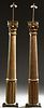 Pair of Carved Gilt Wood Columns, 20th c., now made into floor lamps, possibly by Ralph Lauren, with carved capitols on tapered swirl carved supports,
