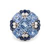 OSCAR HEYMAN & BROTHERS, SAPPHIRE AND DIAMOND RING