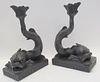 Pair Of Wedgwood Black Basalt Dolphin Form