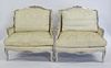 Pair Of Antique Louis XV Style Upholstered