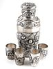 Old Chinese Sterling Silver Dragon Cocktail Set