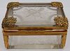 French Bronze Mounted and Etched Glass Casket Box.