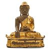 Burmese Gilt Lacquered Bronze Buddha, Late 19th/Early 20th C.