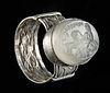 Roman Quartz Intaglio Set in Silver Ring - 4.6 g