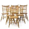 A SET OF SIX PAINT DECORATED THUMB BACK WINDSOR CHAIRS