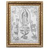 Gobelino de Nuestra Señora de Guadalupe con la alegoría de América, apariciones y emblema nacional. Siglo XX. En fibras de algodón.