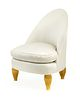 An Art Deco Style Silk-UpholsteredGiltwood Chair