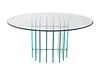 A Modernist Glass and Aluminum Circular Dining Table Height 33 x diameter 60 inches.
