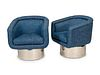 A Pair of Mid-Century Chrome and Upholstered Swivel Chairs Height 30 inches.