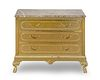 A Hollywood Regency Style Brass Clad Marble Top Chest of Drawers