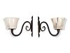 A Set of Four French Art Deco Wrought-Iron and Alabaster Sconces Height 9 1/2 x width 18 x depth 13 3/4 inches.