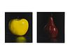 Tom Seghi  (b. 1942) One Yellow Apple and One Red Pear(Two Works)