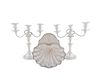 A Pair of Silver on Copper Two Light Candelabra and a Shell-form Serving Dish Height  of candelabra, 12 7/8 inches.