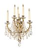 A Pair of Louis XV Style Gilt-Metal and Glass Sconces Height 28 x width 17 x depth 10 inches.