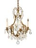 A Louis XV Style Gilt-Metal, Rock Crystal and Glass Four-Light Chandelier Height 19 x diameter 13 inches.
