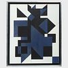 Attributed to Victor Vasarely (1906-1997): Composition Blue and Black