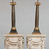 Pair of Gilt and Patinated Metal Columnar Lamps
