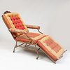 Victorian Mahogany, Painted Metal and Upholstered Adjustable Chaise Lounge