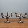 Pair of Louis XV Style Silvered Bronze Two-Light Candlesticks