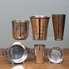 English Silver Beakers and a Group of Vessels