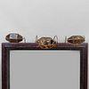 Three Brass-Mounted Faux Tortoiseshell and White Glass Wall Lights