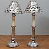 Pair of Silver Plate Candlestick Lamps and a Pair of Silver Plate Shades