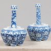 Two Chinese Blue and White Porcelain Garlic Mouth Tulip Vases