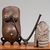 Group of Three African Carved Wood Artifacts