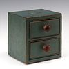 A VERY GOOD 19TH CENTURY BALLOT BOX IN OLD GREEN PAINT