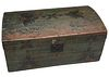A 19TH CENTURY PAINT DECORATED DOME TOP STORAGE CHEST