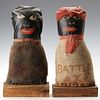 TWO FOLK ART PAINTED CLOTH CARNIVAL KNOCKDOWN TARGETS