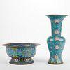 20th c. Chinese Cloisonne Bowl & Vase