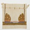 Newcomb College Embroidered Trees Arts & Crafts Linen Sewing Bag