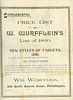 AN 1891 SHOOTING GALLERY TRADE CATALOG FOR WM WURFFLEIN